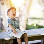 boy, laughing, reading